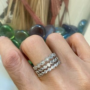 Stacable White Gold Diamond Simulated Rings $23